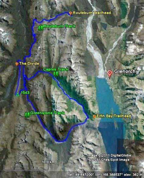 Map of the Routeburn, Caples and Greenstone Tracks