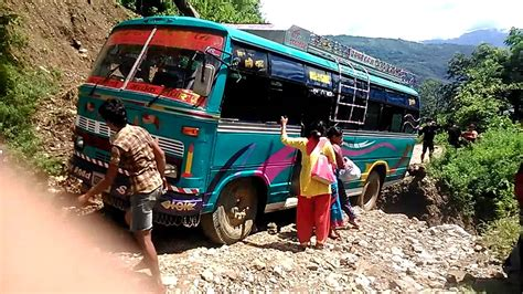 BUS SAVED FROM ACCIDENT BY CHANCE NEPAL - YouTube