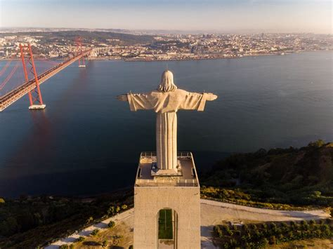 Panorama view of behind to the Cristo Rei monument in