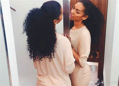 African American Natural Kinky Curly Drawstring Ponytail