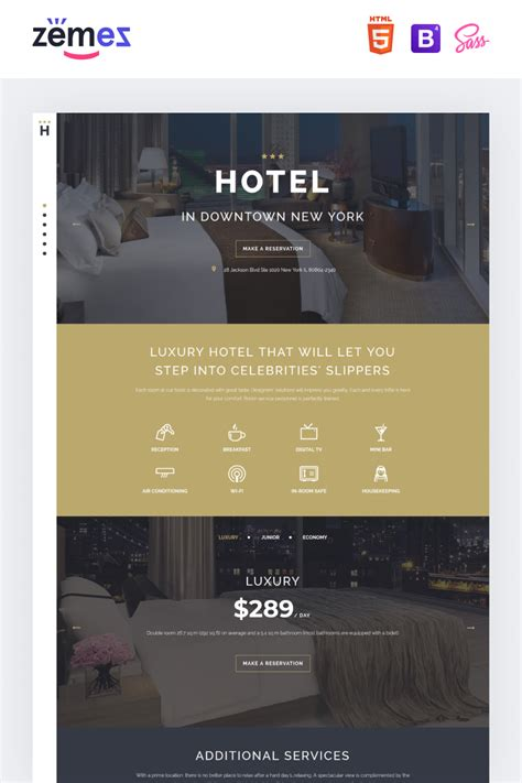 Hotels Responsive Landing Page Template #58112