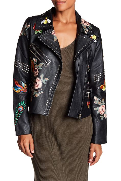 Lyst - Bagatelle Studded Faux Leather Jacket in Black