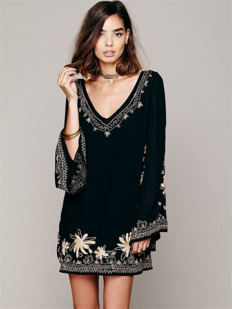 Free people Skyfall Embroidered Dress in Black | Lyst