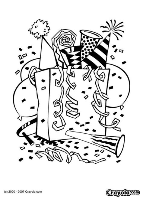 Coloring Page New Year party - free printable coloring pages