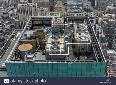 Mechanical equipment on the roof of a New York City