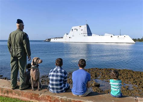 First of Navy's newest class of destroyers makes inaugural