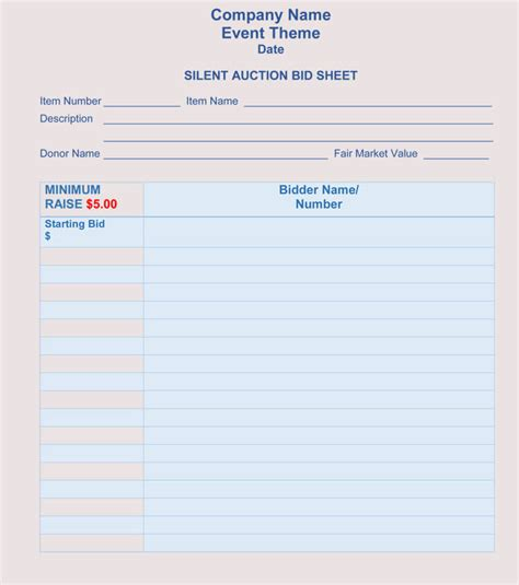 Bid Sheet Templates for Silent Auction (in Word, Excel