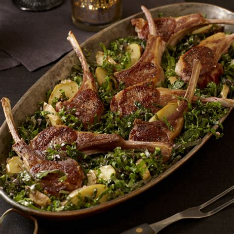 Rack of Lamb with Kale Salad and Potatoes - FineCooking